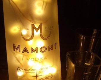 Mamont Vodka Bottle Light. Upcycled Bottle Lamp. Perfect Mood Lighting Gift For Women & Boyfriend Gift For Men. Upcycled Lighting