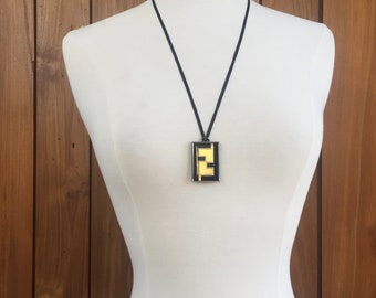 Vintage FENDI ZUCCA FF Logo Necklace Pendant Jewelry