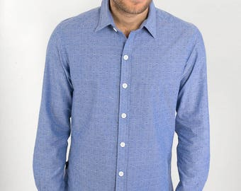 Mens 100% Cotton Long Sleeve Slim Fit Shirt Blue White Thread Print