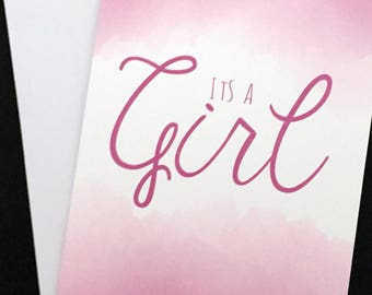 """Its a Girl card, typography and clouds 5""""x7"""" card, pink, baby announcement, baby girl, girl birth announcement"""