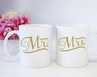 Mr and Mrs Decals, Gift for Bride to Be, His and Hers Decals, Wedding Decal, Newlywed Gifts, Engagement Gift, Bridal Shower Gift, Mug Decal