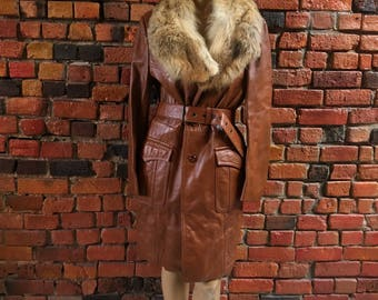 70s Brown Leather Trench Coat with Fur Collar and Waist Tie Button Up Retro Vintage Jacket 1609