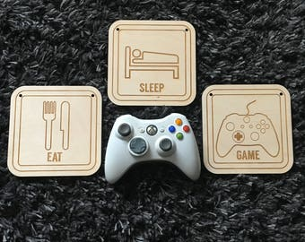 Eat Sleep Game, Controller, Video Game, Xbox, Nintendo, Playstation, PS, Wii, Computer, Laser, Cut Out, Engrave, Unfinished, Wood, Sign