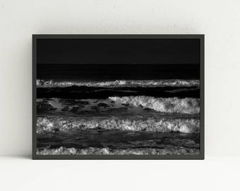 Black and White Ocean Waves Wall Art - Oregon Coast Digital Print - Wall Art - Black and White Beach Print - DIY Home Decor - Printable Art