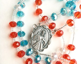Divine Mercy Chaplet Rosary with Red and Blue Crystal Beads