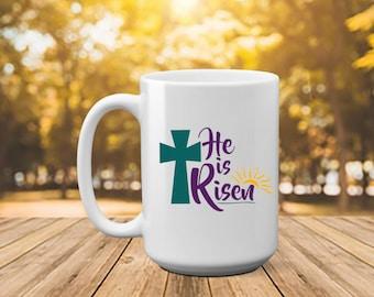 Pastor wife mug etsy he is risen easter easter gift easter mug gift for pastor negle Image collections
