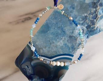 Laura Mother of Pearl Semi Precious Delicate Beaded Tassel Bracelet