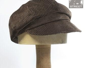 Chocolate brown dark brown corduroy newsboy cap baker boy cap