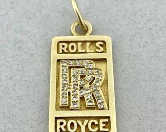 Beautiful handmade solid 14k yellow gold and turquoise ring awesome heavy solid 14k yellow gold and 025 ct diamond rolls royce pendant aloadofball Choice Image