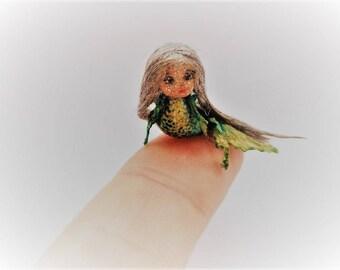 "Mermaid OOAK Wooden Miniature 1.6cm 0.63"" Art Doll by Julia Arts"
