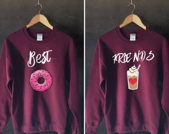 Best Friends Donut And Coffee Duo Sweatshirt,BFF jumper, Bff Pullover, Bff Sweater, duo sweatshirts, bff shirt set, best friends sweater