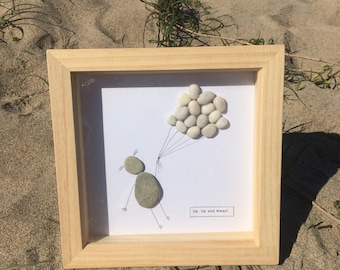 Pebble Artwork Picture - Contemporary piece using pebbles found on the Cornish Coast. Hand-Made.