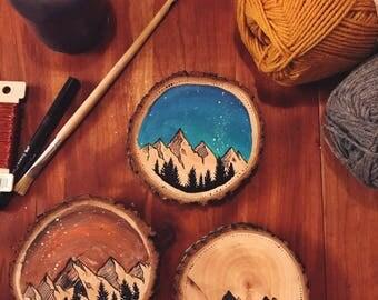 Mountain Wood Slice || Acrylic Painting