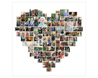 30x30 Custom Heart Photo Collage
