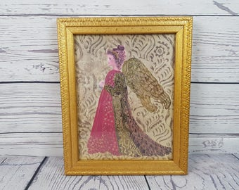 """Vintage Rococo Style Angel Mixed Media Wall Art Made in Canada 9"""" x 11"""" Gold Tone Wood Frame Golden Baroque Hanging Classy Christmas Decor"""