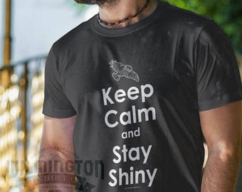 Firefly, Serenity, Keep Calm shirts, Stay Shiny, Browncoats, geek gifts, gifts for nerds, graphic tees, graphic t-shirts, guy gifts