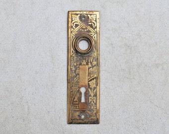 vintage eastlake cast brass art deco door plate / antique 1930s door escutcheon