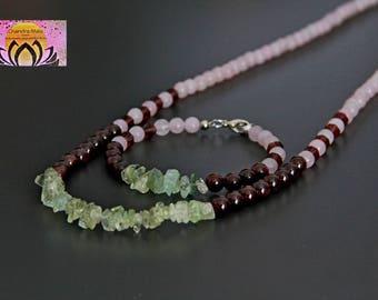 Aquamarine Garnet Rose Quartz Necklace-Maternity Pregnancy Jewellery-Gemstone Necklace-Necklace Bracelet Set-Boho Chic Elegant-Gift for her