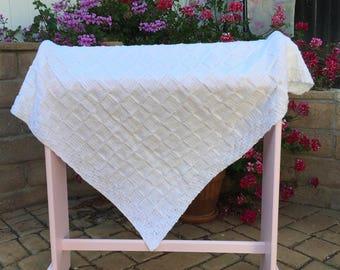 Hand knit baby blanket, white block pattern