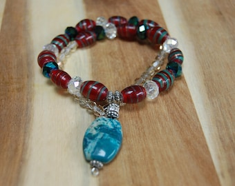 Multicolor Chunky Necklace, Red and Turquoise