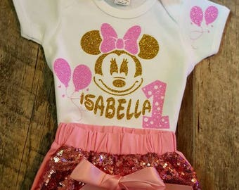 Minnie Mouse Birthday - Any Age - Sequined Headband Bow and Custom Bow Comes With The Sequined Shorts and Onesie Or Tee