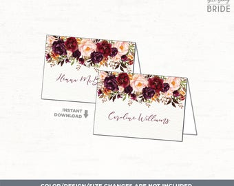 Wedding Place Cards. Rustic BLANK Place Cards. Boho Autumn Floral Reception Place Cards Seating Cards. Fall Flower Wedding Gifts Cards FLO19