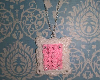 Light Pink Roses Framed Necklace and Earing Set with mini Swarovski Crytstals