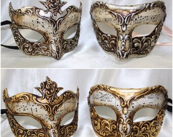 His and Hers Couples Masquerade Masks Pompeii Portofino Silver Gold Genuine Venetian Handcrafted Mask with Musical Notes VA904