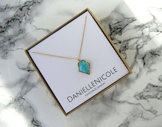 Turquoise Pentagon Necklace, Turquoise Pendant Necklace, Pendant Necklace, Everyday Jewelry, Dainty Jewelry, Dainty Necklace, Gifts for Her
