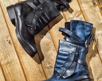 Vintage style Womens fall  Genuine leather unique design bike combat ankle boots Casual Flats Booties Brushed retro style motorcycle boots