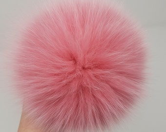 Flamingo Fur pom Berry Pom pom Girls gift  Real fur Bobble Fox fur Ball Faux Fur Pompom accessories Top pom pom Large fur Ball real fur
