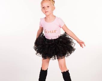 Pink or Black Girls Dance Ballet Tutu, birthday tutu, pick size ruffle skirt, photo prop, birthday tutu, baby girls tutu