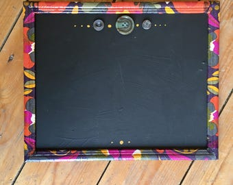 Small Colourful Chalkboard, Decoupaged Frame, Floral Chalkboard, Small Chalkboard, Chalk Board, Buttons