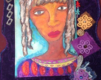 African American Art-Art About African American women Fabric collage Art Quilt