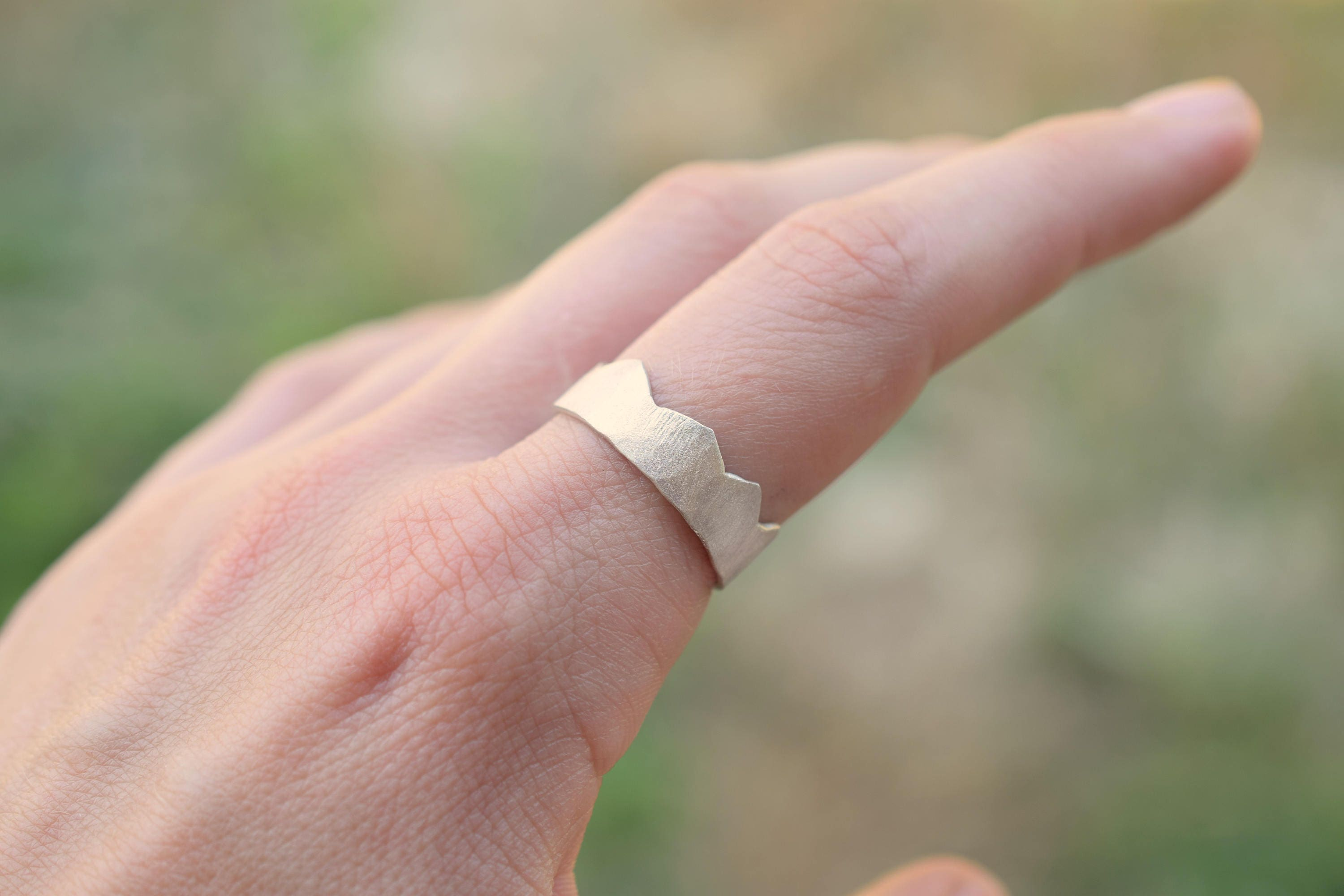 Mountain sterling silver ring crown ring wide ring 7.5 mm