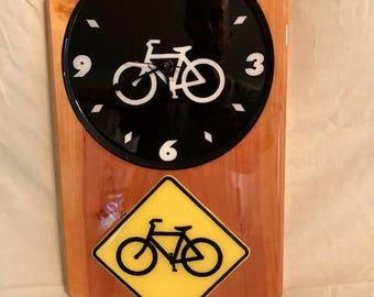 Cedar Bicycle Clock