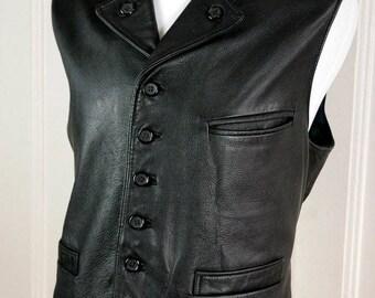 Swedish Vintage Black Leather Vest, Black Goatskin European Waistcoat, Biker Leather Vest Fully Lined w Plaid Wool: Size 44 US/UK