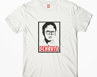 Dwight Schrute The Office US White Vintage Look T-Shirt - Dunder Mifflin Tee , Humor Tee, Comedy Top, Yoga Tee, Office Shirt, Geek wear,