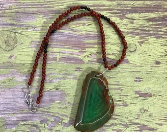Sliced Agatized e necklace, Healing stones, Gemstone jewelry, Handmade Necklace, Beaded Jewelry, Hippie Necklace, Boho Necklace,Boho Jewlery
