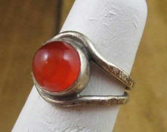 Vintage Orange Chalcedony Sterling Silver Ring Size 5