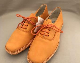 Espadrilles / vintage sandals / summer shoes / orange shoes / slip on shoes / leather mocassins / orange mocassins / vintage mocassins