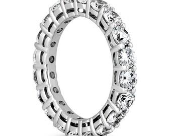 3CT SI - SI2 14K Gold Diamond Eternity Ring Engagement / Wedding Ring Jewelry Full Eternity Band High Quality Diamond Round