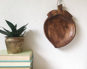 Vintage Wood CHERRY Dish / Catchall / Wall Hanging + Wood Cherry Serving Nut Tray + Natural Kitchen Decor