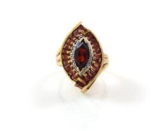 Eye of Garnet 14K & Diamond Ring- X4272