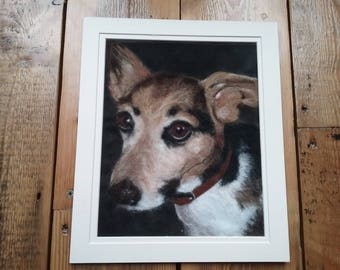 Custom 2D needle felted wool pet portrait picture wall hanging gift