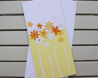 Blank Card - Thank You Card - Birthday Card - Get Well Card - Handmade - Paper Cut - Yellow Flowers