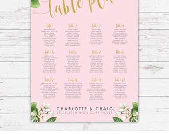 Botanicals pink wedding table plans - personalised with your details and your guest names