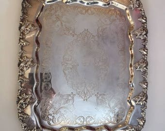 Impressive Silverplate Serving Tray with Grapevine Motif