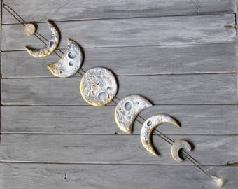 Lunar Decor Moon Phases Wall Hanging Moon Phase Garland Moon Wall Hanging Gold Moon Decor Crystal Wall Decor Gold Moon Cycle Raw Citrine