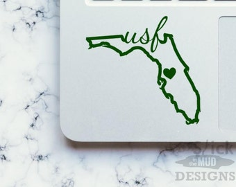 University of South Florida USF Permanent & Custom State Vinyl Decal